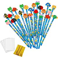 JZK 24 x Blue Wooden Graphite Pencils Set with Cartoon Rubber erasers for Kids Children Party Favours give Away Thank You Gift Party Bag Filler Birthday for Boys