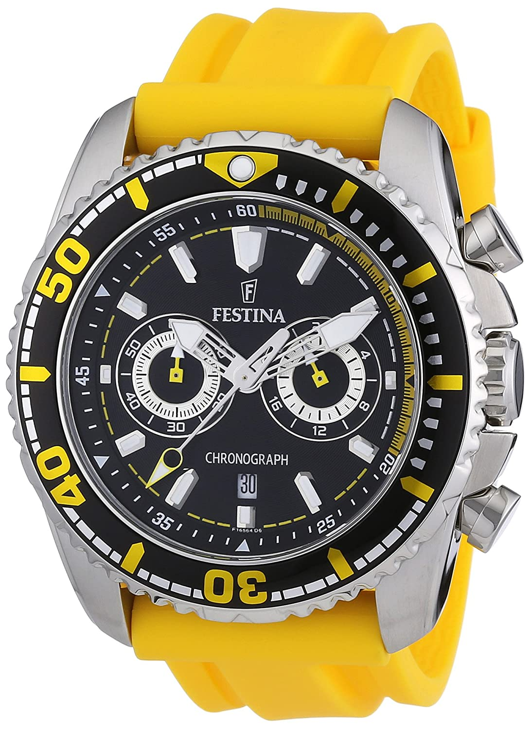 Amazon.com: Festina Mens Crono F16574/1 Yellow Polyurethane Quartz Watch with Black Dial: Festina: Watches