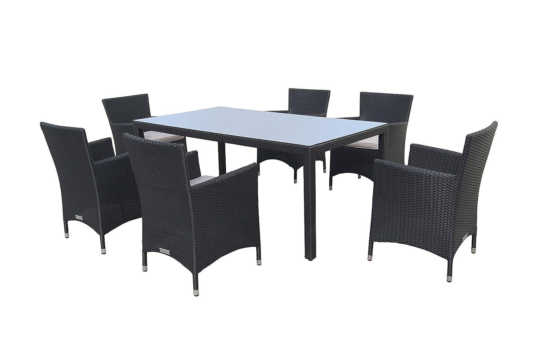 VILLANA exklusive Esstischgruppe aus hochwertigem Polyrattan in schwarz, Glastischplatte ca. 180 x 100 x 74 cm, inkl. Polster, Gartentisch Set für 6 Personen, Tisch und 6 Stühle, wetterfest, modern