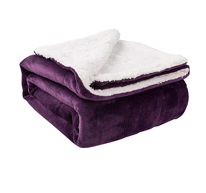 """NANPIPER Sherpa Throw Purple 50""""x60"""" Fuzzy Bed Blanket Throw Reversible Microfiber Blanket Home/Outdoor/Travel"""
