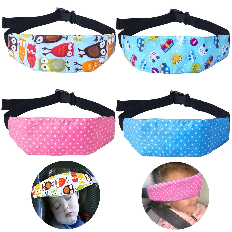 4 Pcs Toddler Car Seat Infants and Baby Head Support, Car Seat Neck Relief Head Strap, Safety Stroller Adjustable Head Holder Sleep Belt Dollshouse 015-HSP-2