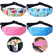 4 Pcs Toddler Car Seat Infants and Baby Head Support, Car Seat Neck Relief Head Strap, Safety Stroller Adjustable Head Holder Sleep Belt