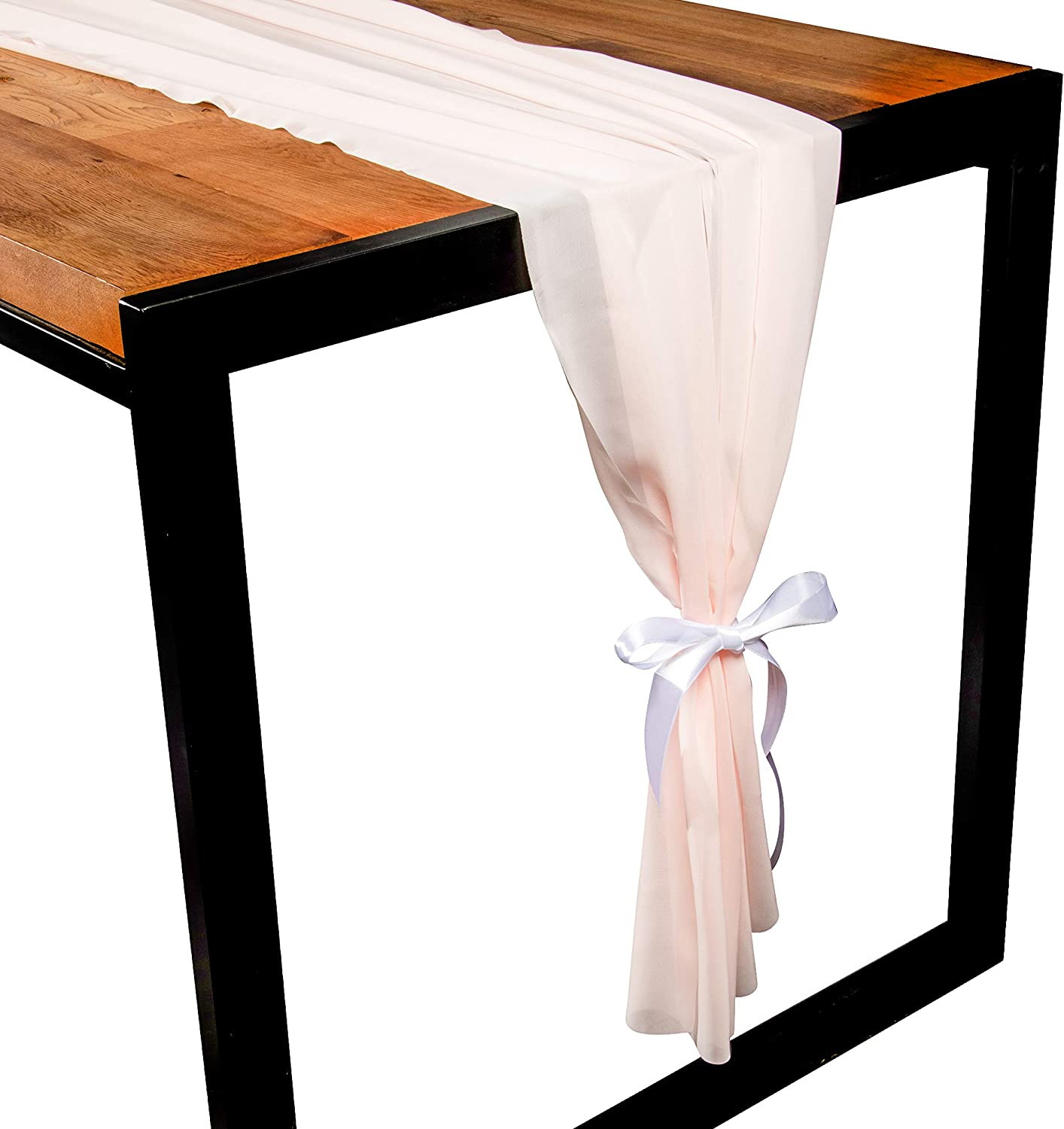 Juvale 10-Foot Pink Chiffon Table Runner - Elegant Flowing Runner Suitable for Weddings, Birthdays, Baby Showers, Bridal Showers, Festive Occasions, 120 x 29 Inches