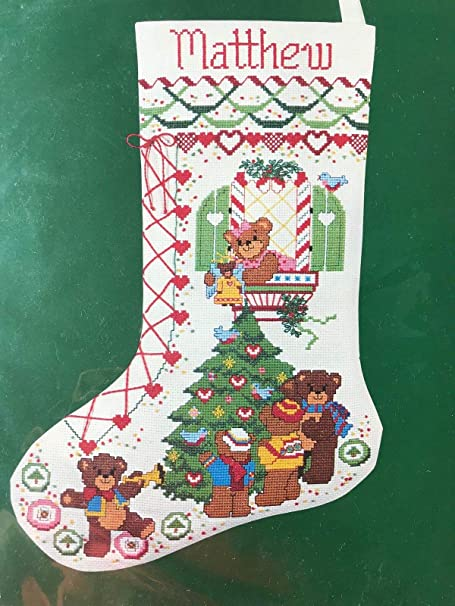 Counted Cross Stitch Kit~TOYS OF YESTERYEAR Xmas Stocking~horse bear horn ball++
