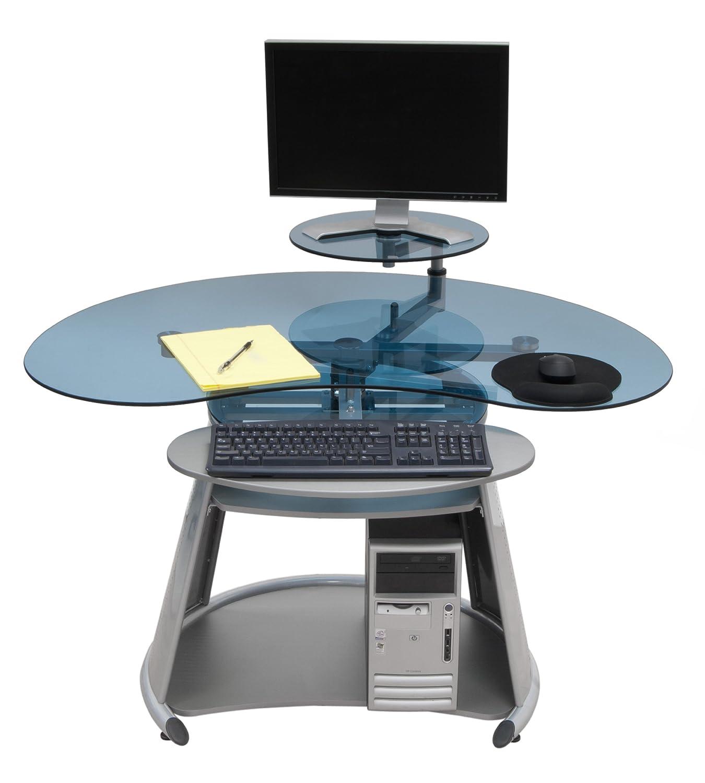 Amazon.com: CALICO DESIGNS Neptune Computer Desk in Silver / Blue ...