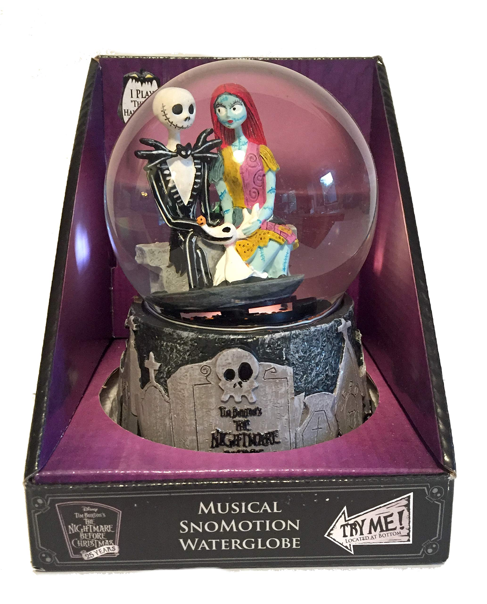The Nightmare Before Christmas Jack Skellington, Sally and Zero Halloween Musical SnoMotion Waterglobe Disney's 25 Years