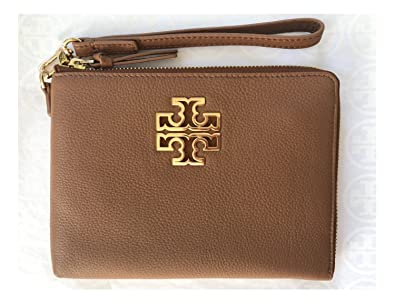 15140637a99 Tory Burch Britten Large Pebbled Leather Zip Pouch Wristlet (Bark ...