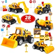 Toy Life Small Construction Toy Trucks - 28 Piece Sandbox Toy Set with 6X Die Cast Metal Construction Vehicles - Toy Bulldoze
