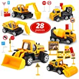 Toy Life Small Construction Toy Trucks - 28 Piece Sandbox Toy Set with 6X Die Cast Metal Construction Vehicles - Toy Bulldozer, Metal Dump Truck, Diecast Backhoe, Cement Mixer Toy Truck, Excavator Toy