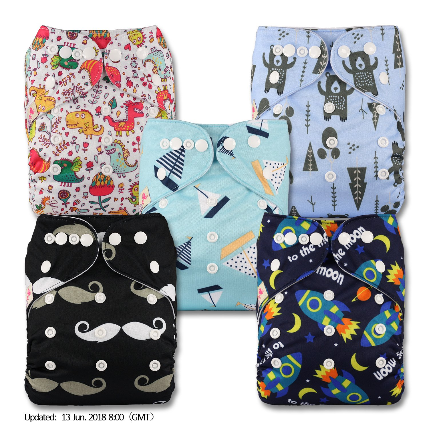 with 10 Bamboo Charcoal Inserts Set of 5 Patterns 513 Fastener: Popper Reusable Pocket Cloth Nappy Littles /& Bloomz
