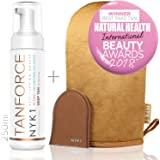 BEST Fake Tan with Mitt - 2018 (250ml) TAN FORCE Skinny Natural Look Face and Body Self Bake Tan Invisible Tanning Foam TanForce Mousse Developing Sands Australian Dark Brown St Gold Bronzer Cream