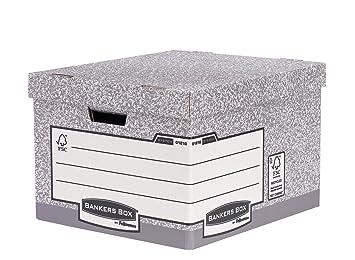 Fellowes Bankers Box System - Caja contenedora de archivos tamaño folio, 10 unidades, color gris: Amazon.es: Oficina y papelería