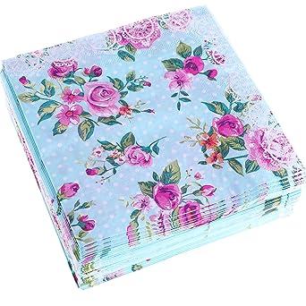 Amazon.com: Chengu - Servilletas desechables de papel floral ...