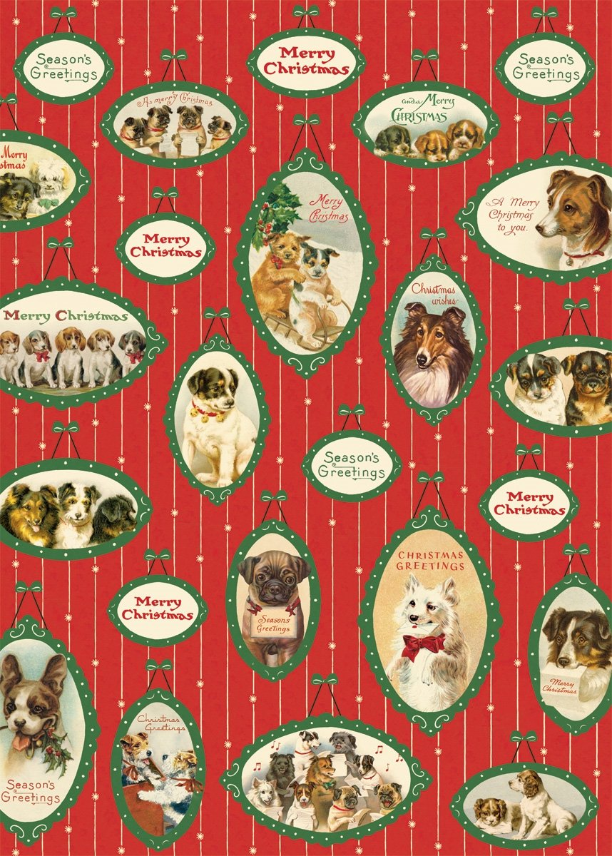 Cavallini & Co. Christmas Dogs Decorative Paper Sheet