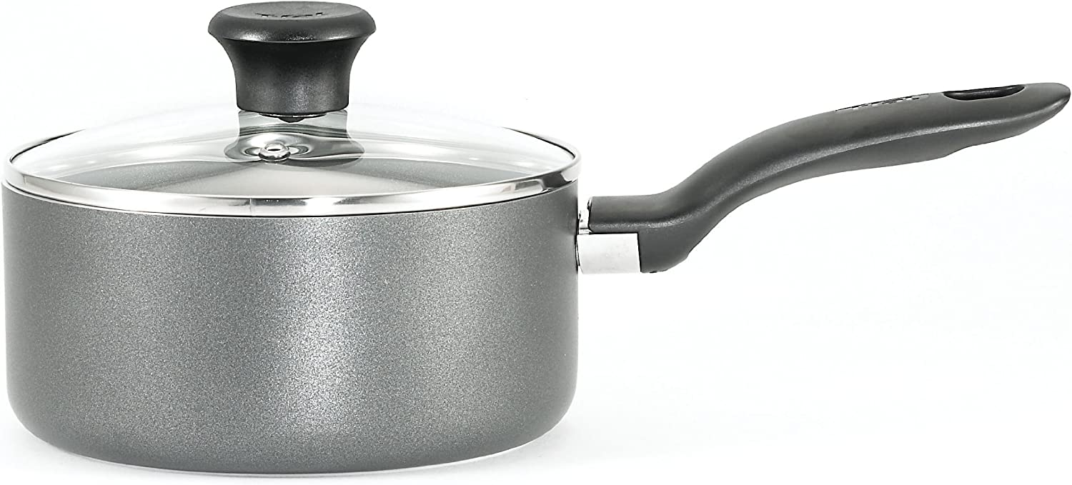 T-fal B16790 Initiatives Nonstick Inside and Out Sauce Pan with Glass Lid Cover Cookware, 3-Quart, Gray