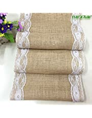 Hrph Vintage Arpillera Yute Lino Cuadro Runner Lace Cloth Dinning Cuarto Mesa Gadget Home Decor Accesorios