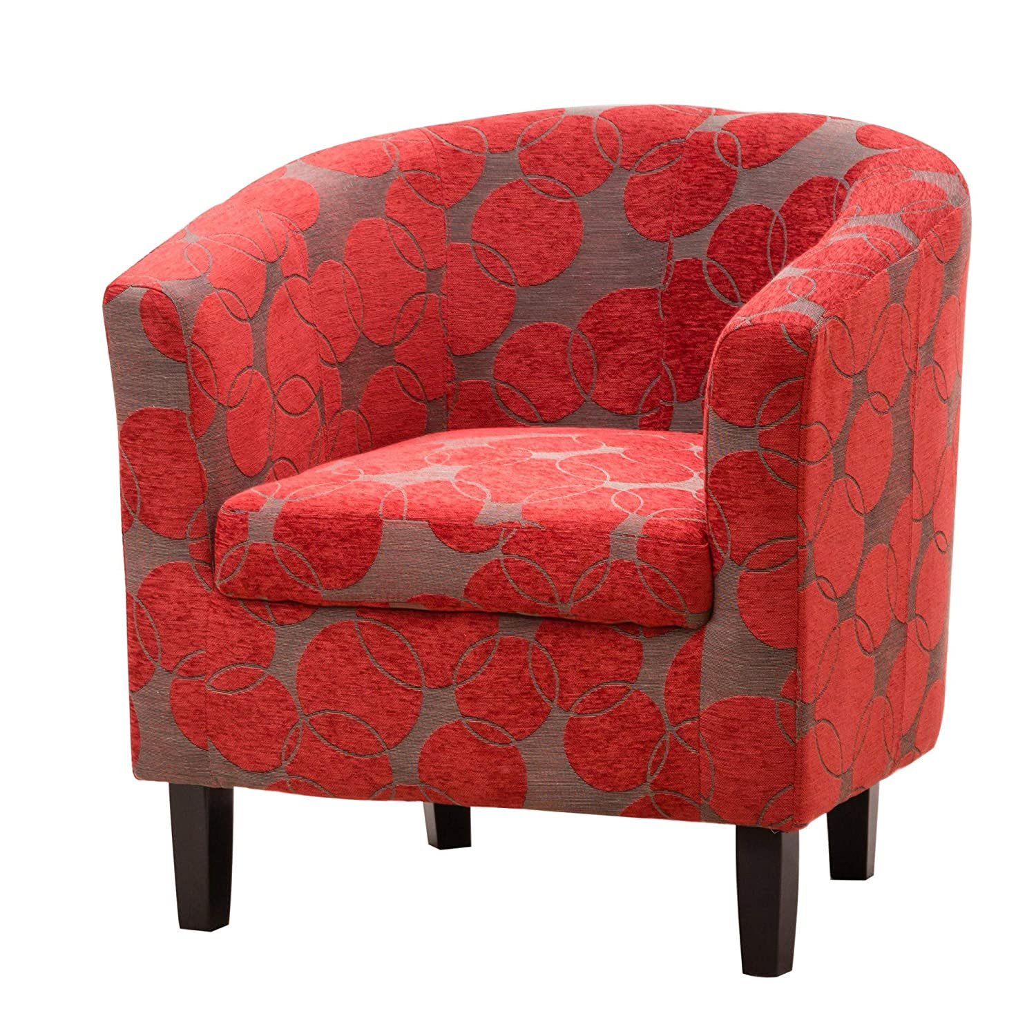 Sofa Collection Benissa Funky Tub Chair/Armchair Seating, Fabric, Red, 66 x 71 x 77 cm 5060363582228