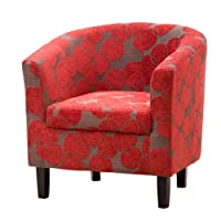 Sofa Collection Benissa Red Funky Fabric Tub Chair/Armchair Seating, 66x71x77 cm