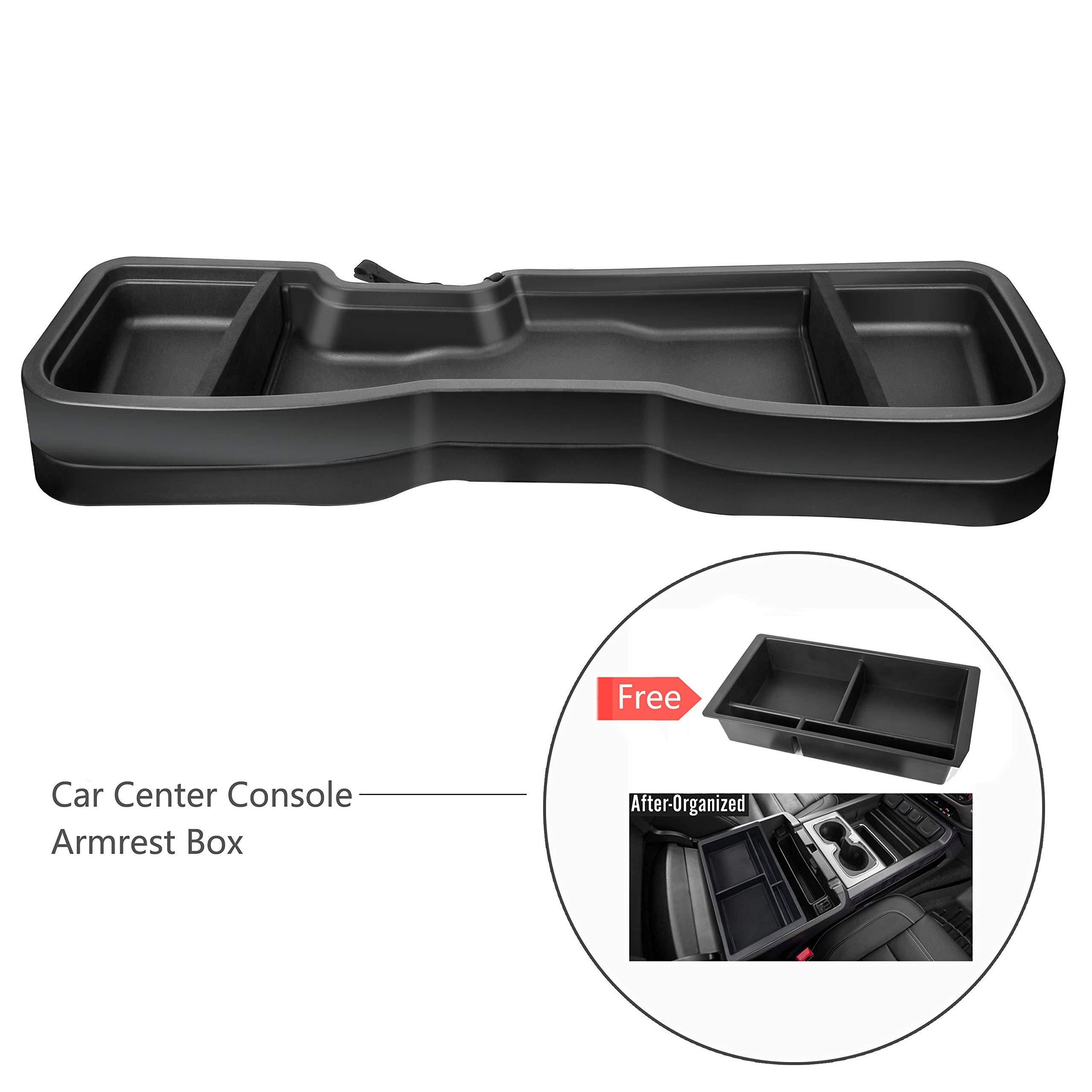 Amooca Gearbox Under Seat Storage Box Compatible for 2014-2018 Chevrolet-GMC Silverado/Sierra 1500 for 2015-2019 Chevrolet-GMC Silverado/Sierra 2500/3500 Crew Cab Black by Amooca
