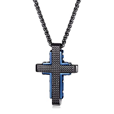 15d94b6e2ed CIUNOFOR Stainless Steel Cross Pendant Necklace for Men Women Double Layer  Black and Blue Plated with