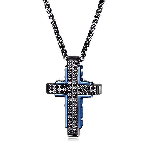 Amazon.com: CIUNOFOR - Collar con colgante de cruz en tono ...