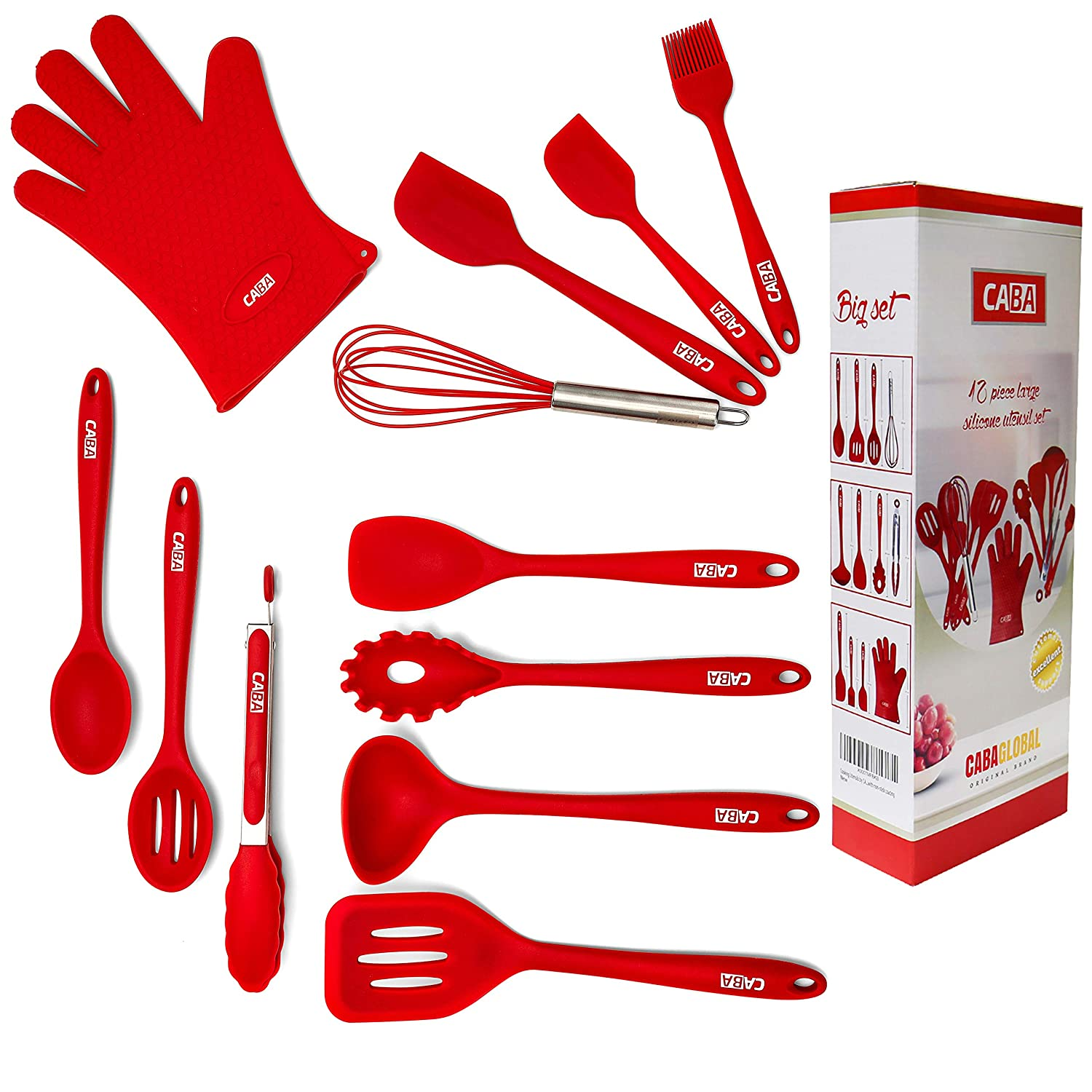 The Chef Craft Silicone Big Kitchen Utensils Set by CABA (12 Pieces Set) Covers all Kitchen Needs Non-stick Non-Slip RED Colour Kitchen Utensils Set Easy to Use and Reduced Cleaning Easily wash in seconds Silicone Kitchen Utensil Set Heat Resistant Hygien