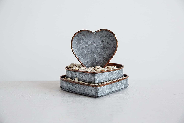 Creative Co-Op DA8631 Set of 3 Heart Shaped Galvanized Metal Trays
