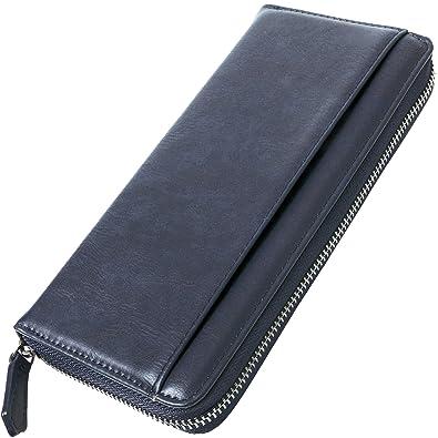 0065ce58e1d9 BLUE SINCERE ラウンドファスナー 長財布 メンズ ブランド カード14枚収納 & 取り出しやすい小銭