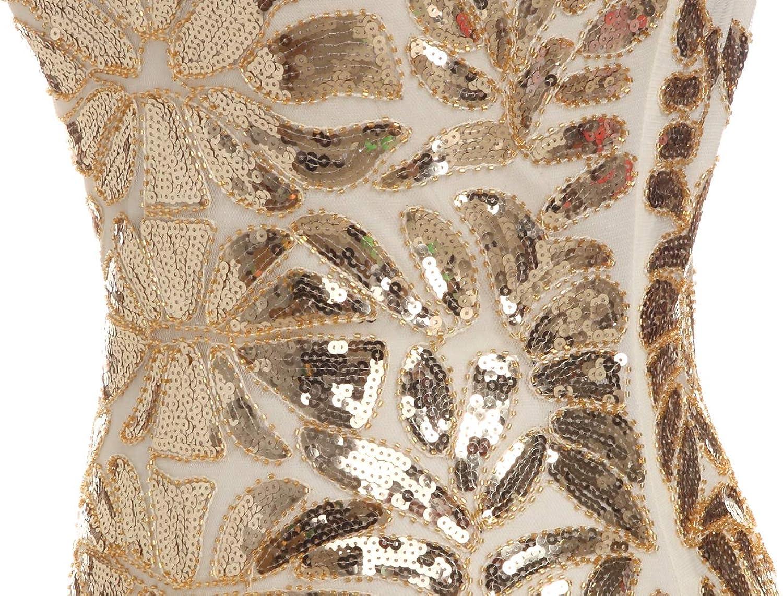 FAIRY COUPLE Donne 1920 Perline Paillettes Floreale Maxi Lungo Gatby Flapper Prom Vestito da Sera D20S004 S,Gold Champagne