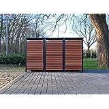 BBT@ | Premium Mülltonnenboxen für 3 Tonnen je 240 Liter Grau / Front-Edelholz / Vollverzinkte Bleche hochwertig pulverbeschichtet / Fronttür Edelholz