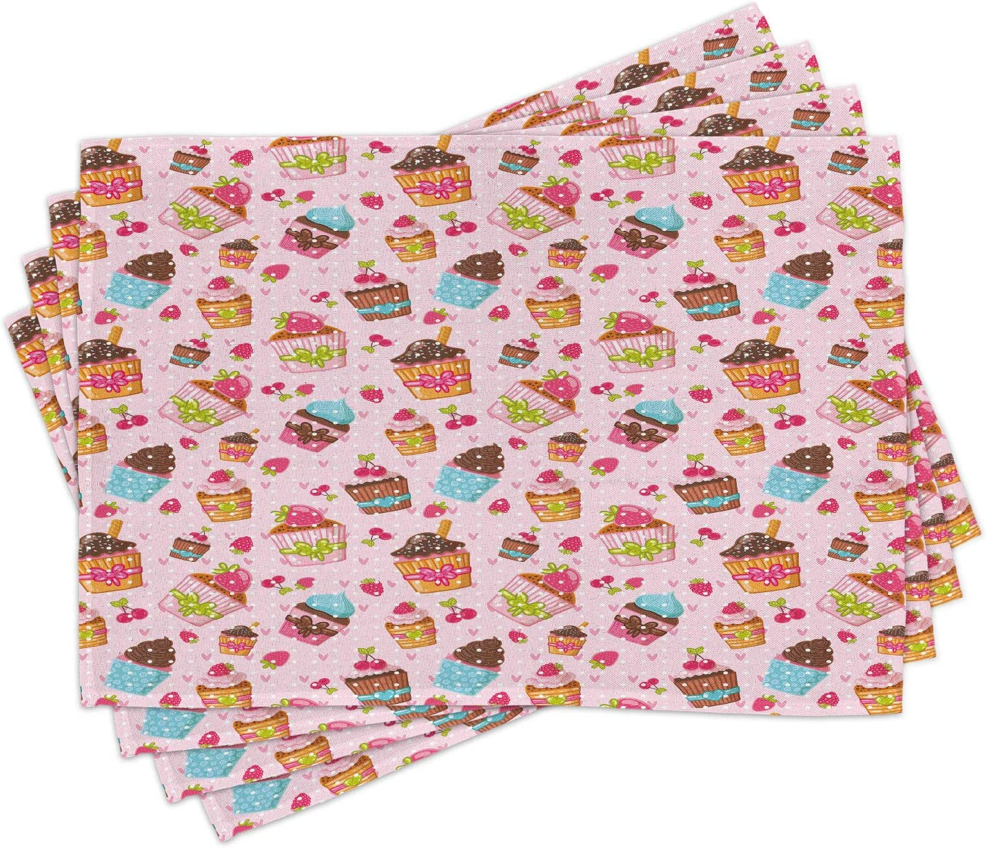 Ambesonne Pink Place Mats Set of 4, Kitchen Cupcakes Muffins Strawberries and Cherries Food Eating Sweets Print, Washable Fabric Placemats for Dining Room Kitchen Table Decor, Pink Brown