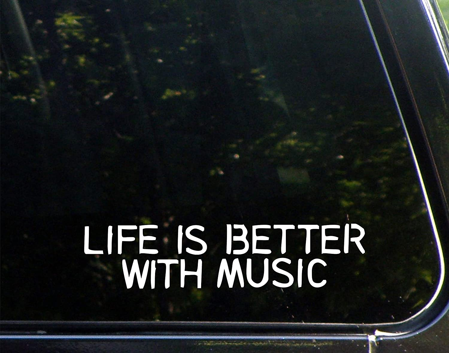 "Life is Better with Music - 9"" x 2"" - Vinyl Die Cut Decal/Bumper Sticker for Windows, Cars, Trucks, Laptops, Etc."