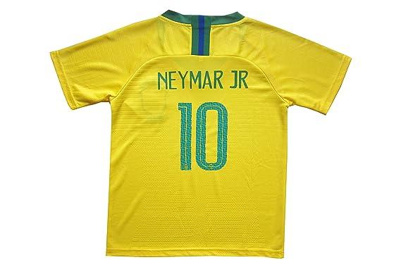 301d1cf37 Amazon.com   KID BOX Brazil  10 Neymar JR. Kids Home Soccer Jersey   Shorts  Socks Set Youth Sizes   Sports   Outdoors