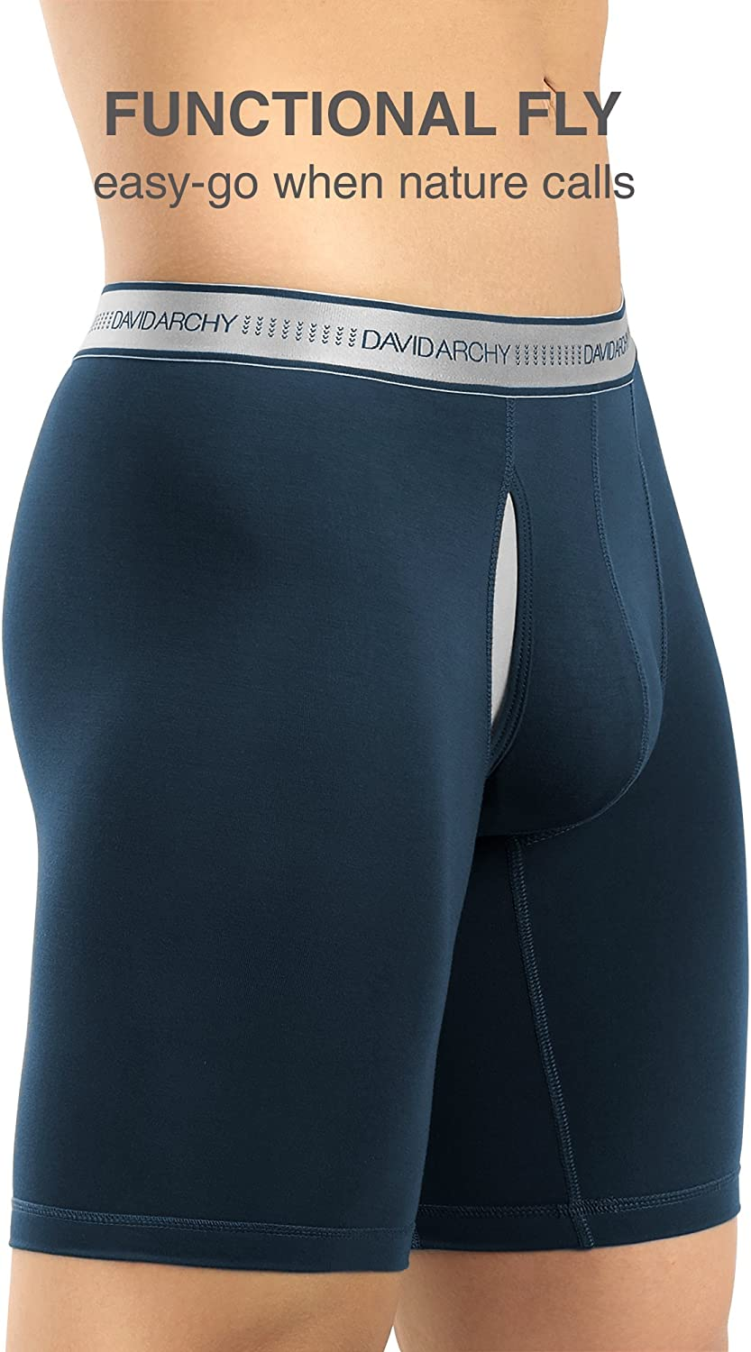 DAVID ARCHY Mens Breathable Boxer Briefs Bamboo Rayon Trunks with Fly in 3 or 4 Pack