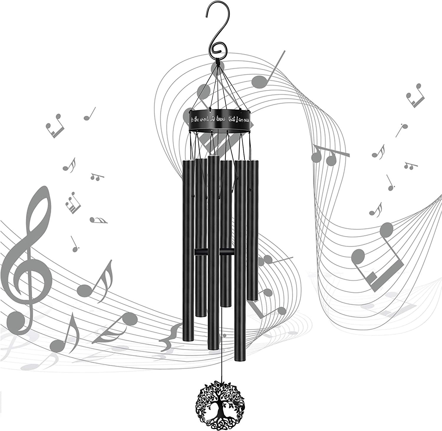 MEMGIFT Wind Chimes Outdoor Deep Tone Large Memorial Windchimes for Loss of Loved One Engrave Tree of Life Sympathy Wind Chimes Gifts for Mother Father Garden Home Yard Hanging Decor Black
