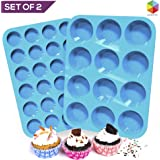 Lucentee Large and Mini Muffin Pan - Set of 2 - Top Non Stick Bakeware for Muffins, Cakes and Cupcakes - 12 Cups and 24 Cups Texas Jumbo Silicone Mold / Baking - Easy to Clean - Blue