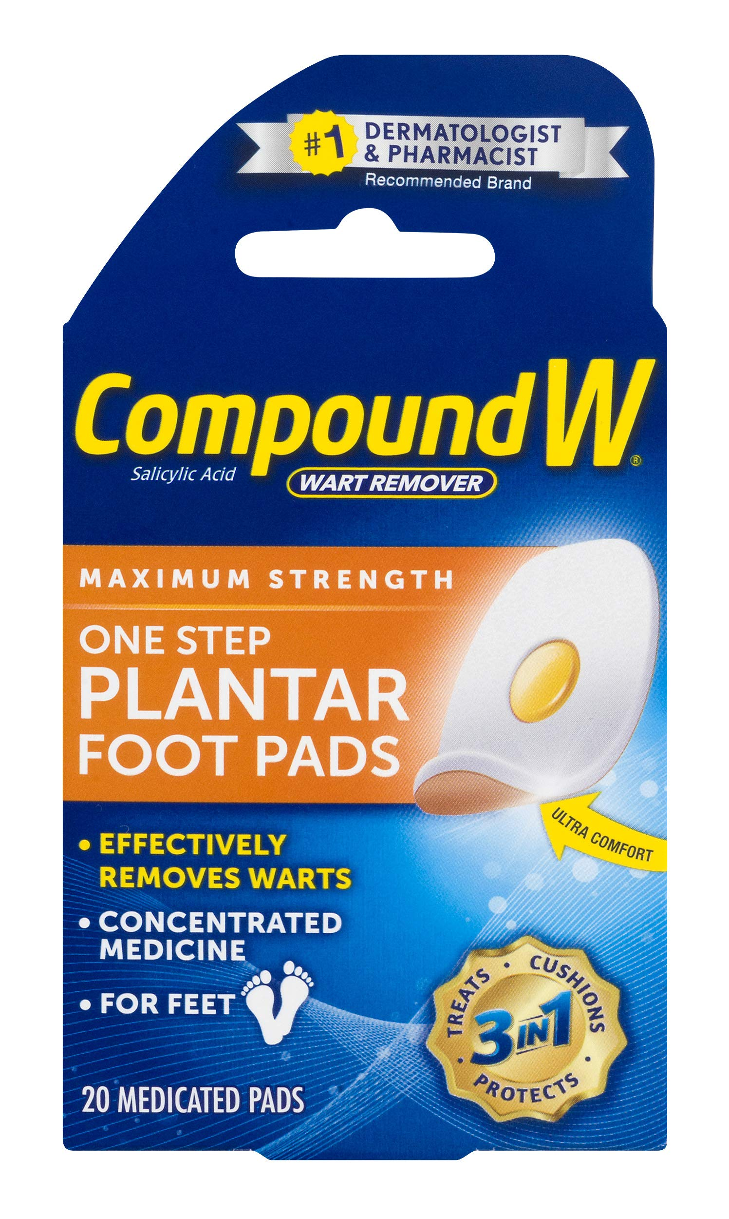 Compound W One Step Plantar Foot Pads | Salicylic Acid Wart Remover | 20 Pads | 2 Pack by Compound W