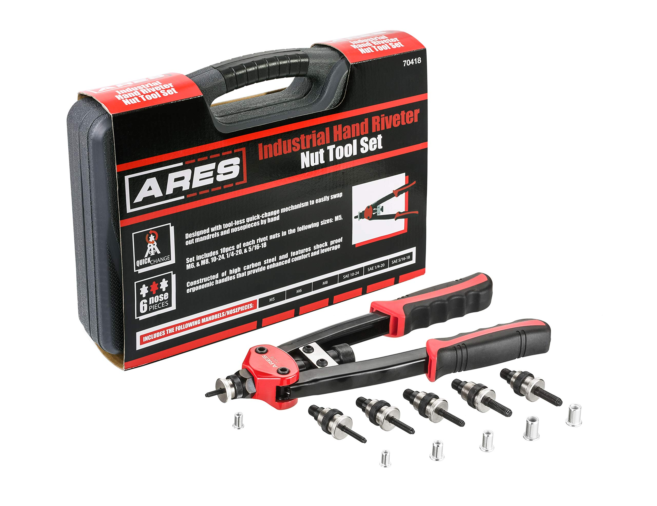 ARES 70418 | Heavy Duty Rivet Nut Setter | Includes M5, M6, M8, 10-24, 1/4-20, and 5/16-18 Mandrel Sets with Rivet Nuts | Works with Aluminum, Steel, and Stainless Steel Nuts