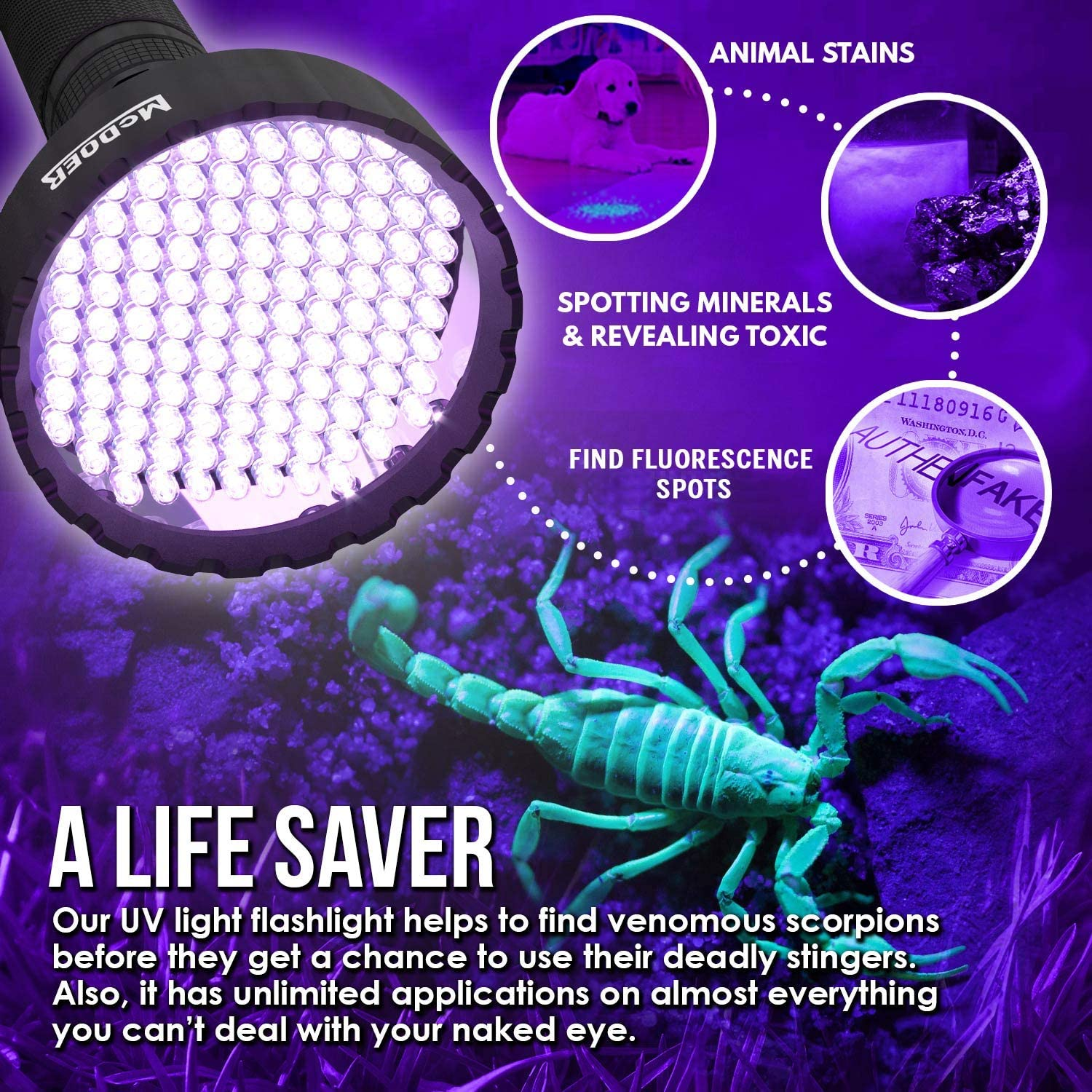 Amazon.com: McDOER - Linterna de luz negra Ver 2 UV 109 LED ...