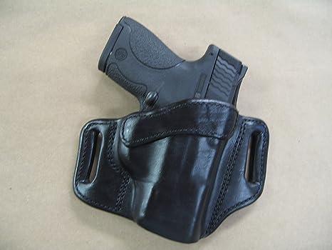 Ruger SR9c Compact 9mm OWB Leather 2 Slot Molded Pancake Belt Holster CCW  BLACK RH