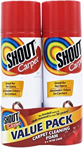 Shout Carpet Aerosol Stain and Odor Remover Foaming Spray with OXY Power   Completely Removes Tough Urine Stains & Prevents Remarking   Great for Large Areas, Fresh Scent, Value Pack of 2