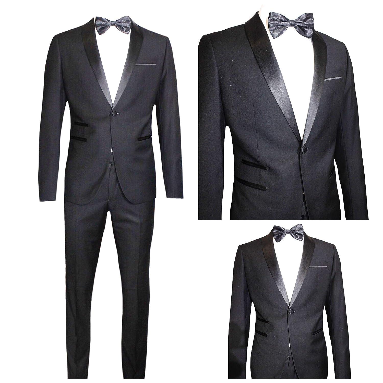 Moda Classica Abito Uomo Nero Super Slim Giacca E Pantalone Smoking Vestito Elegante Cerimonia Comunione (Calza Stretto 1-2 Taglie in Meno)