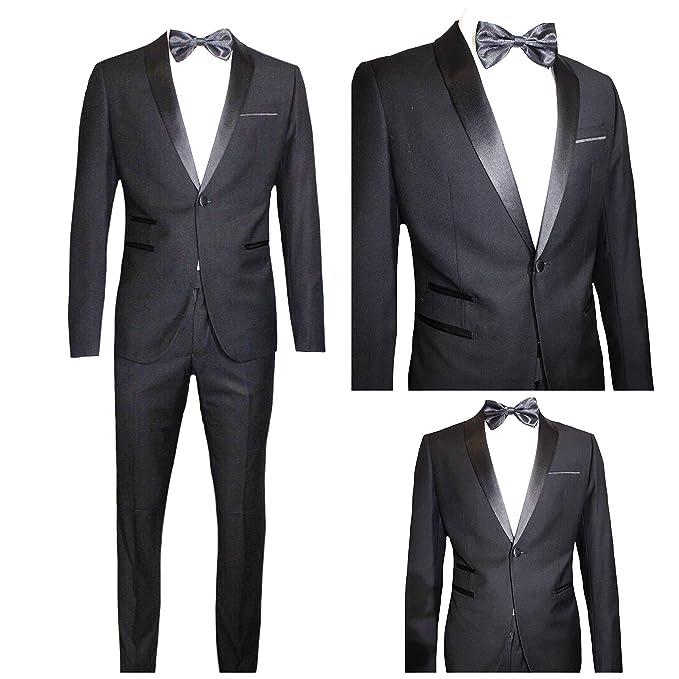 7f581113f4be8d Moda Classica Abito Uomo Nero Super Slim Giacca E Pantalone Smoking Vestito  Elegante Cerimonia Comunione ...