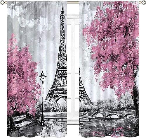 Cinbloo Eiffel Tower Curtains Rod Pocket 52 W x 63 L Inch Paris Pink Trees Oil Painting European City Landscape France Art Printed Living Room Bedroom Window Drapes Treatment Fabric 2 Panels