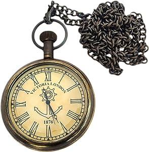 JD'Z COLLECTION Antique Look Brass Pocket Watch Nautical Pocket Watch Vintage Handmade Roman dial Pocket Watch for Mens (Antique Finish)- 2