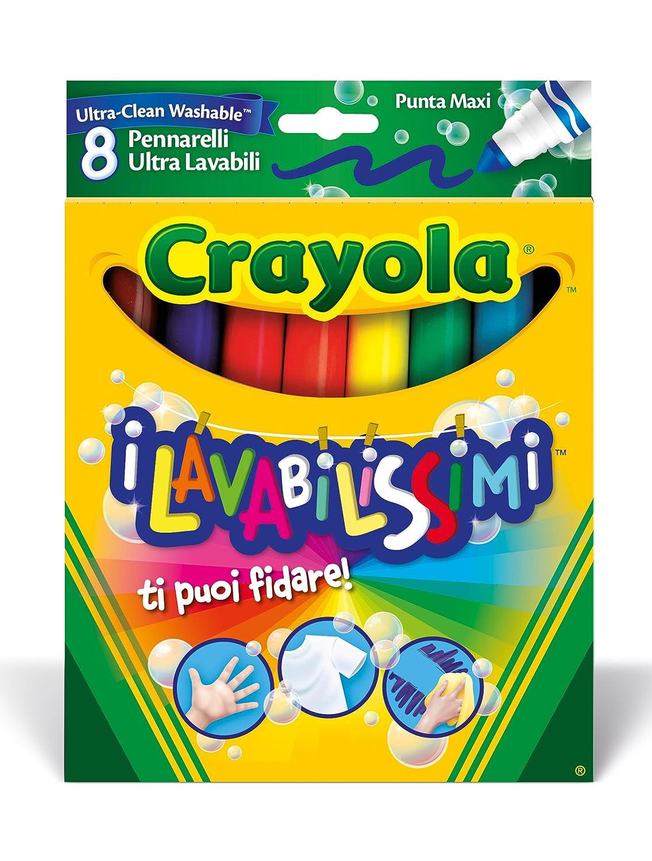 Crayola I Lavabilissimi Pennarelli Ultra-Lavabili, Punta Maxi, per Scuola e Tempo Libero, Colori Assortiti, 8 Pezzi, 58-8328 Binney & Smith Italy 58-8328-E-000