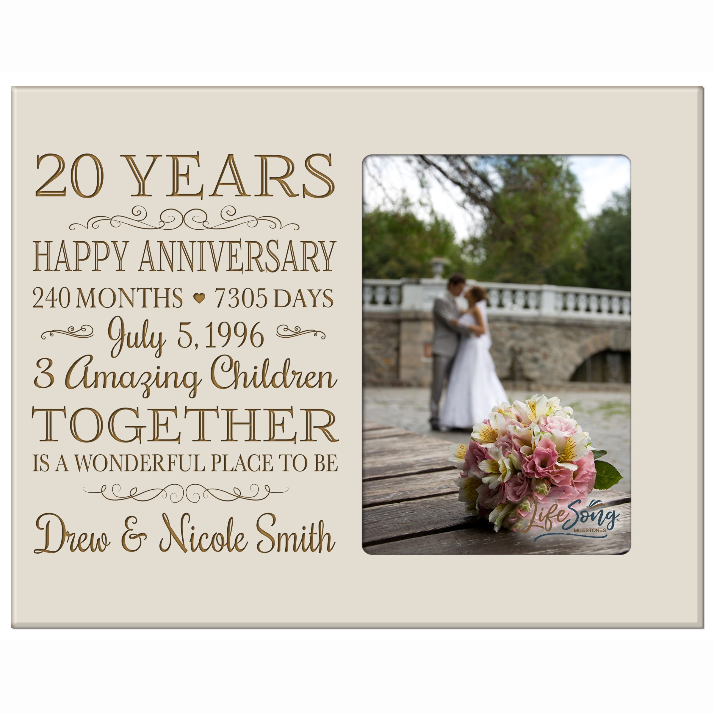 LifeSong Milestones Personalized Twenty Year for her him Couple Custom Engraved Wedding Gift for Husband Wife Girlfriend Boyfriend Photo Frame Holds 4x6 Photo (Ivory)