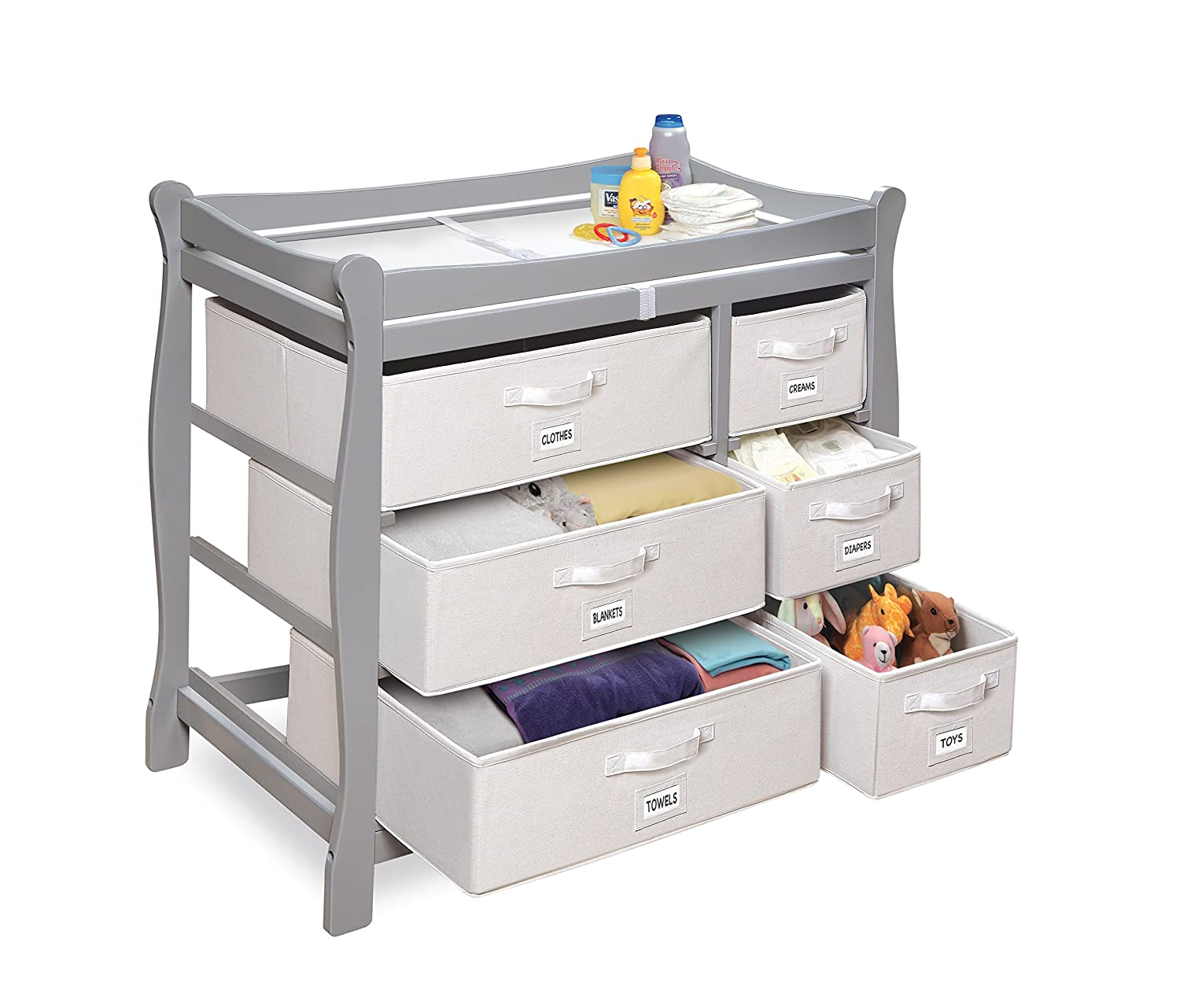 Marvelous Amazon.com : Badger Basket Sleigh Style Changing Table With Six Baskets,  Gray : Baby