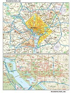 Amazon.com : Washington DC Metro Area Laminated Wall Map ...