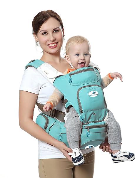 Portabebés multifuncional 8 en 1 con asiento de cadera y canguro. El mejor y más suave portabebés para posición frontal y trasera / bebé de frente o ...